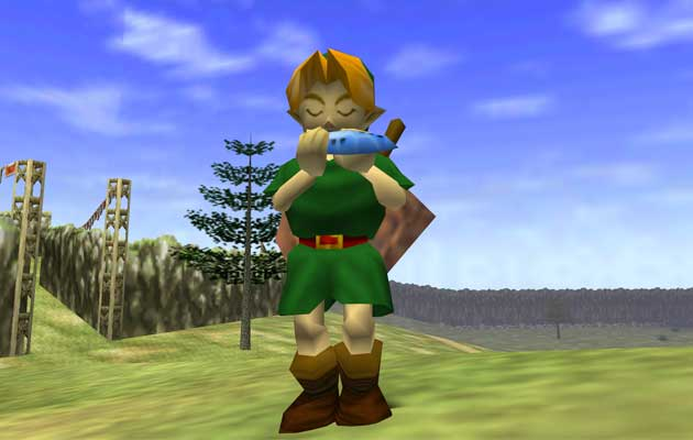 Playing on an ocarina